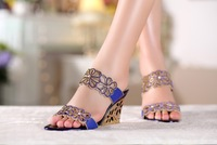 Women Sandals Crystal Wedges Slides Rhinestone  Lady's High-heeled Summer Shoes  JKS121