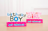 Blue Boy/ Pink Girl (Happy) Birthday Candles, Cake toppers. Candles spelling 'BOY/ GIRL BIRTHDAY'