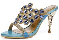New Fashoion Women's Genuine Leather High-heeled Rhinestone Slides, Lady's  Sheepskin Sandals, Diamante Heels JKS111