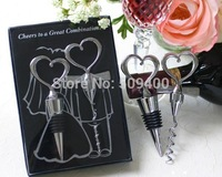 Cheers to a Great Combination Cork Screw & Bottle Stopper Wine Set Wedding Favor