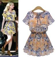 hot Female fashion print chiffon slim waist one-piece dress