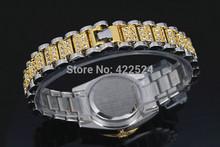 New Model Fashion women man gold silver wristwatch diamond lady dress watch with Calendar Best gift