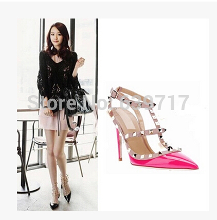 Rivets Pointed Toe Ankle Strap Women Shoes for 2015 Female Sexy Dress Nude Summer High Heels