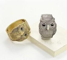 Korean vintage bronze wide owl  bracelets bangles/kpop luxury pulseras mujer/pulseiras femininas brazalete/coruja/buho/hibou