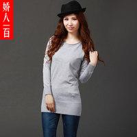 2015 Freeshipping Long Flat Knitted O-neck Sale Limited Women's Medium-long Long-sleeve Sweater Basic Shirt Plus Size Female