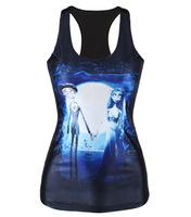 2015 New Fashion Vintage Spring Summer Womens Sleeveless Graphic Printed Digital Printing bride Tee Blouse Vest Tank Tops