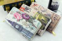 Hot sale ladies fashion 2015 new graffiti Print Wallets fashion retro flower hand bags women vintage purses female money bag