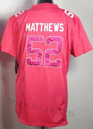 Free Shipping Women's Elite Embroidery Stitched Packers Black White Green Pink #52 Matthews American Football jersey Matthews(China (Mainland))