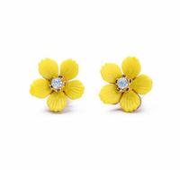 Yellow Flower Stud Earrings Crystal Small Earrings Women Fashion Earrings Free Shipping