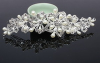 Luxury Wedding Headband Made of Crystal Rhinestones and Imitation Pearl very Shinny A grade Quality Free Shipping