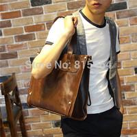 Classic designer brand PU Crazy Horse leather mens shoulder bags casual-bags outdoors fashion korean harajuku laptop bags