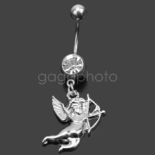 Body Piercing Jewelry Rhinestone Dangle Navel Belly Button Bar Ring Cupid Design