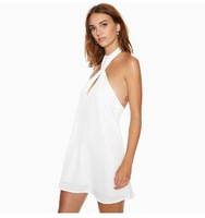Sexy Halter wrapped chest halter dress invisible zipper dress