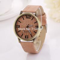 Wood grain dial and strap design new fashion luxury design fashions quartz watch for female women dress Clock relogiosXR774