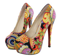 Printing Woman High Heels Platform Round Toe shoes female 14cm sexy pumps Chinese style sy-1046
