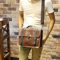 Fashion designer brand vintage PU Crazy Horse leather mens messenger bags bolsas casual man shoulder tactical postman bag