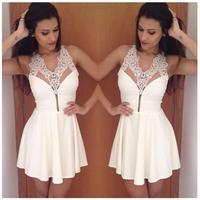 casual dress 2015 vestidos women dress lace and chiffon white dress vestido de festa tropical lace dress vestidos femininos D32
