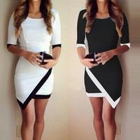 Women's Dress 2015 Sexy High Waist Patchwork Asymmetrical Party Dress Plus Size Fashion Ladies Black White Mini Dress1412304