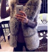 2014 new fashion women sleeveless fur outwear coat high quality fox fur vest female winter women's faux fur jacket gray(China (Mainland))