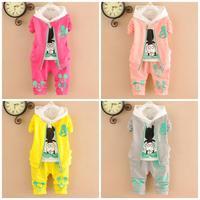 4set/lot baby girls sets 3pcs coats+shirts+pants kids sets sports children clothing factory 761