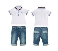 2-7Y 2015 summer latest wholesale children's clothing small boy children G cotton T-shirt + jeans two piece suit
