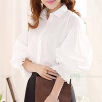 Lantern Sleeve Shirt 2015 New Fashion Womens Vintage Cotton Blusas Femininas Plus size Loose Turn-down collar Tops White Blouse