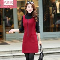 2015 Vestido Party Dresses Tropical Autumn And Winter Woolen Sleeveless One-piece Dress Elegant Plus Size Clothing Slim Basic