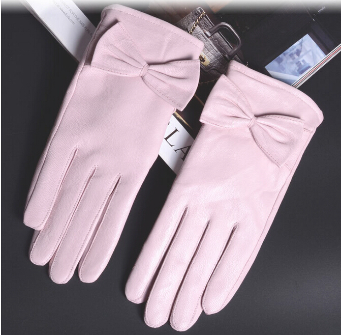 Sheepskin genuine leather winter women gloves pink cold weather insulation gloves(China (Mainland))