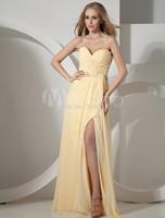2015 Sexy Long Yellow Split Prom Dress Chiffon Evening Gown Party Dresses Real Image vestidos de festa vestido longo