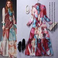 High Quality New European American Clothes 2015 Spring Women Elegant Bow Collar Cartoon Girl Print Long Sleeve Maxi Dress Long