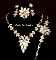 Free Shipping Women's 18k Gold Filled Flower Sapphire Austrian Crystal Necklace Bracelet Earrings Ring Wedding Jewelry Sets
