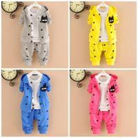 4set/lot baby sets 3pcs coats+shirts+pants 2015 kids sets sports children clothes factory 759