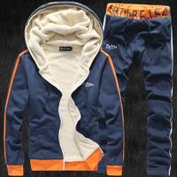 hot! 2015 new arrive winter plus velvet male sweatshirt slim fashionable casual thickening set outerwear men's clothing