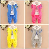 4set/lot baby boys sets 3pcs coats+shirts+panys kids sets sports children suits wholesale 760
