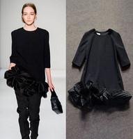 Runway 2015 New Spring Women's Loose Dress Black Fashion Vintage Pleated Flower Ruffles Dress Three Quarter Sleeve A-line Dress