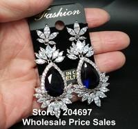 Popular Western Style Luxury AAA+ Swiss Cubic Zirconia Diamond Dangling Sapphire Blue Stone Water Drop Shape Wedding Earrings