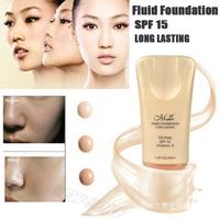 (Min. Order 10$) Makeup Liquid Foundation Fluid Face Blemish Balm Whiten Flawless Coverage Silky High Definition Sun Block SPF15