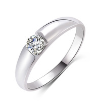 Min. order 9 usd (can mix) New Design Fashion Silver Plated Zircon Crystal Rings Jewelry Men