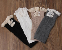 NEW lace leg warmers short leg warmer womens boot socks knitted boot cuffs button 4colors Pick