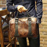 Japanese vintage PU Crazy Horse leather mens shoulder bags korean fashion man laptop bags bolsas outdoors hot sale bucket bag