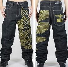 2015 boy baggy jeans embroidery hip hop  black loose jeans mens hip-hop skateboard pants size 30-42