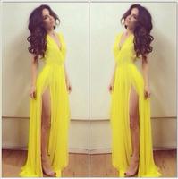 Best Sale Yellow Deep V Sleeveless Pleated Long Evening Dress Slit Side Chiffon Party Gown Women Dress Vestido De Festa Longo