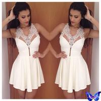 2015 Women Dress White Lace Dress Sexy V Neck Backless Club Dress Vestido Curto Branco Decotado com Rendas Vestido De Festa
