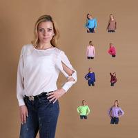 10 colors Plus Size Women Clothing Candy Colors Long-Sleeved Chiffon Shirts Back Slits At Open Seam Women Tops Blusas Femininas