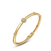 2015 18K Yellow Gold/Champagne Bangle Bracelet With Genuine Austria Crystal Beaded Ball Charm Women Jewelry Gift