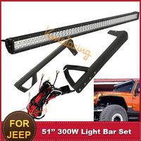 51 Inch 300W Combo Offroad Led Work Light Bar Driving Head Lamp + Upper Windshied Mount Brackets For Jeep Wrangler JK 12V 24V