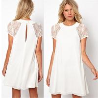 2015 Top Fashion Rushed A-line Vestidos Free Shipping Vestido De Renda Party Dresses Lace Stitching Short Sleeved Chiffon Dress