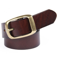 men women belt cowhide leather pin buckle casual fashion jean's belts unisex for male female genuine leather  blet free shipping