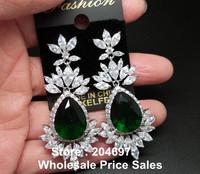 Gorgeous Fashion Jewelry Marquise Shape AAA+ Swiss Cubic Zirconia and Emerald Green Water Drop Dangle Earrings For Women