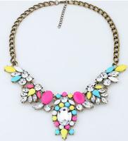 2015 NEW Arrival Women Colorful Flowers Statement Necklace 6 Colors Crystal Choker Necklaces & Pendants